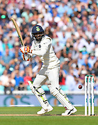 Ravindra Jadeja of India plays a shot down to third man to get a single run during day 3 of the 5th test match of the International Test Match 2018 match between England and India at the Oval, London, United Kingdom on 9 September 2018.