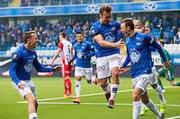 Eliteserien fotball 2016: Molde - Tromsø. Moldes Mattias Moström (t.v.), Fredrik Gulbrandsen og Fredrik Aursnes feirer sistnevntes 1-0 scoring i eliteseriekampen mellom Molde og Tromsø på Aker Stadion.