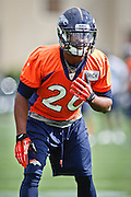 SHOT 7/25/13 9:40:56 AM - Denver Broncos free safety Rahim Moore #26 runs through drills during opening day of the team's training camp July 25, 2013 at Dove Valley in Englewood, Co.  (Photo by Marc Piscotty / © 2013)