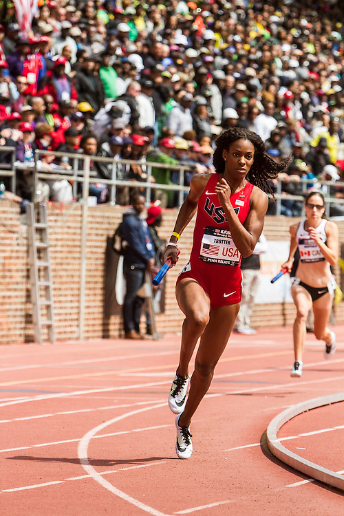 Penn Relays, USA vs the World, 4x400 relay, DeeDee Trotter, USA