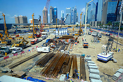 Large construction site in Downtown Dubai United Arab Emirates