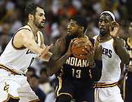 April 17, 2017 - Cleveland, OH, USA - Cleveland Cavaliers forward Kevin Love and Iman Shumpert double-team Indiana Pacers forward Paul George during the third quarter in Game 2 of an Eastern Conference playoff game on Monday, April 17, 2017, at Quicken Loans Arena in Cleveland, Ohio. The Cleveland Cavaliers beat the Indiana Pacers 117-111. (Credit Image: © Leah Klafczynski/TNS via ZUMA Wire)