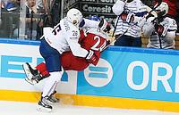 Benjamin Dieude Fauvel / Martin Zatovic - 07.05.2015 - Republique Tcheque / France - Championnat du Monde de Hockey sur Glace <br />Photo : Xavier Laine / Icon Sport