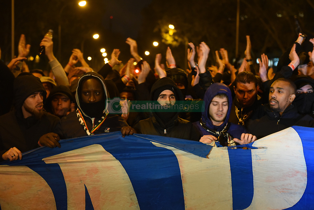 November 26, 2019, Madrid, Spain: Fans shouting slogans..Around 3,000 PSG fans gathered on the streets close to Santiago Bernabeu stadium ahead of the UEFA Champions League match between Real Madrid and PSG. (Credit Image: © John Milner/SOPA Images via ZUMA Wire)