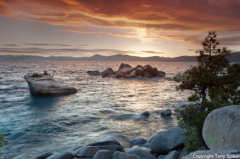 """Bonsai Rock Sunset 2"" - The sun sets over Bonsai Rock on the Eastern Shore of Lake Tahoe"