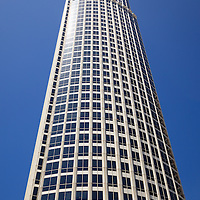 Photo of one skyscraper office building in Los Angeles Southern California in the United States.