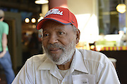 10/16-18/2014 Civil Rights Icon James Meredith proudly wears his red Ole' Miss baseball hat. Ole Miss football team is 7-0 for the first time in years. Ole Miss and Mississippi State are both ranked in the top 5 SEC ranking. Photo ©Suzi Altman