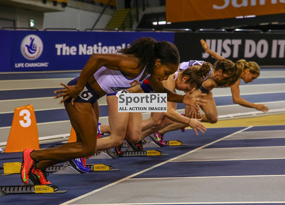 Start of the ladies 100m. Sainsbury's Glasgow International Athletics Match, 24 January 2015. (c) [Neil Bain] | SportPixPix.org.uk