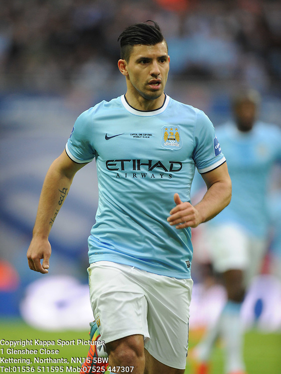SERGIO AGUERO MANCHESTER CITY, Capital One Cup Final, Wembley, Manchester City v Sunderland, Sunday March 2nd 2014