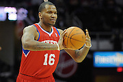 Feb. 27, 2011; Cleveland, OH, USA; Philadelphia 76ers center Marreese Speights (16) makes a pass during the first quarter against the Cleveland Cavaliers at Quicken Loans Arena. Mandatory Credit: Jason Miller-US PRESSWIRE
