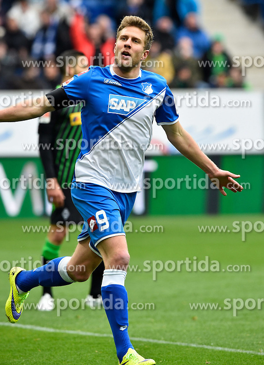 04.04.2015, Rhein Neckar Arena, Sinsheim, GER, 1. FBL, TSG 1899 Hoffenheim vs Borussia Moenchengladbach, 27. Runde, im Bild TOR zum 1:0 durch Sven Schipplock TSG 1899 Hoffenheim <br /> Torjubel, Jubel, Freude, Emotion // during the German Bundesliga 27th round match between TSG 1899 Hoffenheim and Borussia Moenchengladbach at the Rhein Neckar Arena in Sinsheim, Germany on 2015/04/04. EXPA Pictures &copy; 2015, PhotoCredit: EXPA/ Eibner-Pressefoto/ Weber<br /> <br /> *****ATTENTION - OUT of GER*****