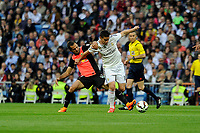 Real Madrid´s Chicharito and Almeria's Tommer Hemed during 2014-15 La Liga match between Real Madrid and Almeria at Santiago Bernabeu stadium in Madrid, Spain. April 29, 2015. (ALTERPHOTOS/Luis Fernandez)