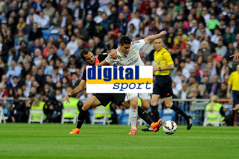 Real Madrid´s Chicharito and Almeria's Tommer Hemed during 2014-15 La Liga match between Real Madrid and Almeria at Santiago Bernabeu stadium in Madrid, Spain. April 29, 2015. (ALTERPHOTOS/Luis Fernandez)