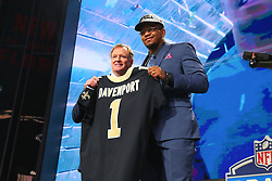 April 26, 2018 - Arlington, TX, U.S. - ARLINGTON, TX - APRIL 26:  Marcus Davenport takes a photo with  NFL Commissioner Roger Goodell  on stage after being chosen by the New Orleans Saints with the fourteenth pick during the first round at the 2018 NFL Draft at AT&T Statium on April 26, 2018 at AT&T Stadium in Arlington Texas.  (Photo by Rich Graessle/Icon Sportswire) (Credit Image: © Rich Graessle/Icon SMI via ZUMA Press)