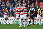 Doncaster celebrate Keshi Anderson of Doncaster Rovers scoring to go 1-0 up during the Sky Bet League 1 match between Doncaster Rovers and Barnsley at the Keepmoat Stadium, Doncaster, England on 3 October 2015. Photo by Ian Lyall.