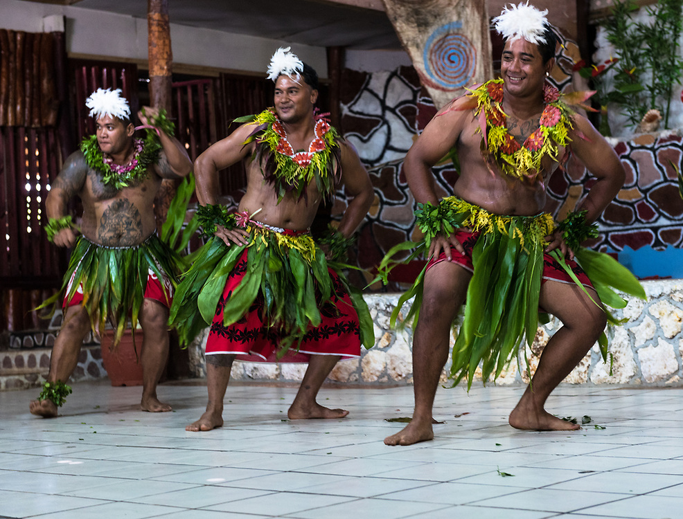 Nuku'Alofa, Tonga -- March 10, 2018. Dancers in native garb perform a traditional Tonganese dance. Editorial Use Only.