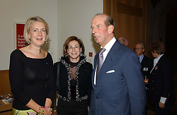 Left to right, MARIE CLAIRE AGNEW, DEBORAH BENNETT and HRH THE DUKE OF KENT  at the Depal Trust 2in1 Art Party at The National Portrait Gallery, London on 25th October 2004.<br />