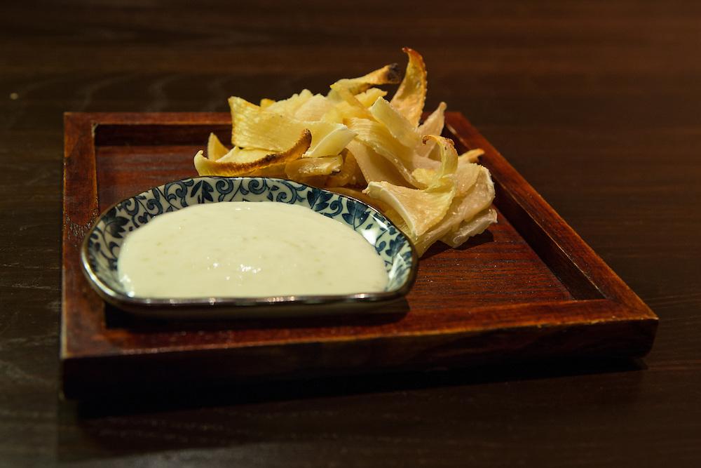 Skate wing (pan tossed ehire, yuzo kosho yogurt) at SakaMai.