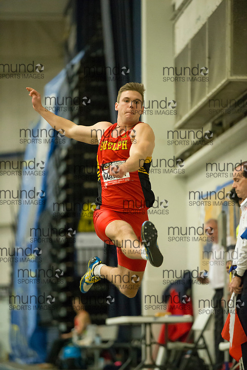 Windsor, Ontario ---2015-03-12--- Taylor Corney of Guelph competes in the pentathlon long jump  at the 2015 CIS Track and Field Championships in Windsor, Ontario, March 12, 2015.<br /> GEOFF ROBINS/ Mundo Sport Images