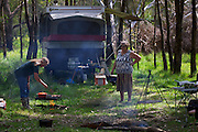 Marie and Jeanne Dunn cooking for the hunters. Duck hunting season opens near Howlong on the Murray River. Pic By Craig Sillitoe CSZ/The Sunday Age 22/3/2011 This photograph can be used for non commercial uses with attribution. Credit: Craig Sillitoe Photography / http://www.csillitoe.com<br /> <br /> It is protected under the Creative Commons Attribution-NonCommercial-ShareAlike 4.0 International License. To view a copy of this license, visit http://creativecommons.org/licenses/by-nc-sa/4.0/.