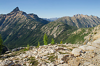 View of Tower Mountain and the Pacific Crest Trail traversing its flanks. North Cascades Washington.