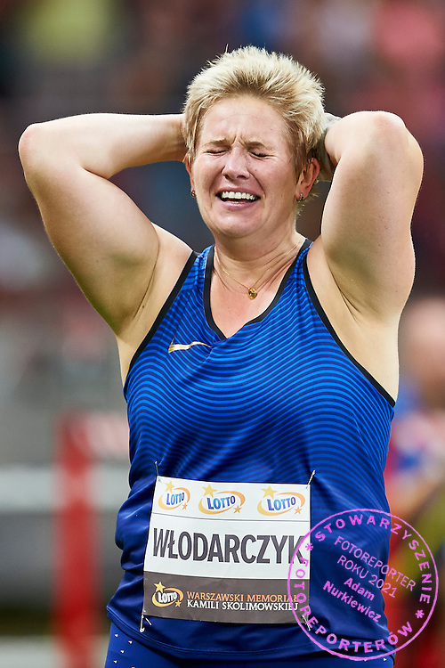Warsaw, Poland - 2016 August 28: Anita Wlodarczyk from Poland celebrates after breaking a world record with the result 82.98m in women's hammer throw competition during athletics meeting Kamila Skolimowska Memorial 2016 at PGE National Stadium  August 28, 2016 w Warsaw, Poland.<br /> <br /> Adam Nurkiewicz declares that he has no rights to the image of people at the photographs of his authorship.<br /> <br /> Picture also available in RAW (NEF) or TIFF format on special request.<br /> <br /> Any editorial, commercial or promotional use requires written permission from the author of image.<br /> <br /> Mandatory credit:<br /> Photo by &copy; Adam Nurkiewicz