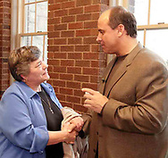 "Wally Herald, from Centerville talks with Art Schlichter after his speech at Centerville United Methodist Church on Sunday night.  Wally said she thought the speech ""was great,"" and ""heart felt."""