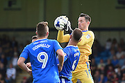 Gillingham goalkeeper Stuart Nelson (1) makes a first half save during the EFL Sky Bet League 1 match between Gillingham and Coventry City at the MEMS Priestfield Stadium, Gillingham, England on 24 September 2016. Photo by Martin Cole.