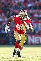 11 November 2012: Linebacker (99) Aldon Smith of the San Francisco 49ers in game action against the St. Louis Rams during the first half of a 24-24 tie between the 49ers and the Rams in an NFL football game at Candlestick Park in San Francisco, CA.