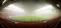 LIVERPOOL, ENGLAND - Monday, February 6, 2012: Liverpool's Anfield Stadium shrouded in fog rolling in off the River Mersey before the Premiership match against Tottenham Hotspur at Anfield. (Pic by David Rawcliffe/Propaganda)