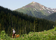 "A hiker and his dog take in the view along the trail on the hike between Crested Butte and Aspen, Co. Aspen and Crested Butte are hours apart by car and probably worlds apart in attitude but only separated by 24 miles on a map. Many hikers are starting to take one of a number of mountain passes on foot and stay the night in the other town and then hike, bike, drive or fly back the following day. Depending on the route chosen and the ability of the hiker, it takes about 5 to 9 hours to hike between the two towns. Most hikers choose the trails that converge on 12,490-foot West Maroon Pass ? the shortest of the available options at 10.5 miles. The trail offers a steady uphill from either side, with ample time to prepare for the last steep and loose rocky sections before the pass.The historic Town of Crested Butte is a Home Rule Municipality located in Gunnison County, Colorado, United States. A former coal mining town now called ""the last great Colorado ski town"", Crested Butte is a destination for skiing, mountain biking, and a variety of other outdoor activities.The Colorado General Assembly has designated Crested Butte the wildflower capital of Colorado..(Photo by MARC PISCOTTY / © 2006)"