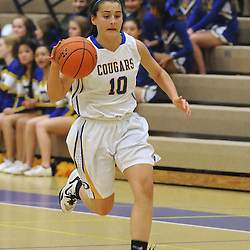 Staff photos by Tom Kelly IV<br /> East's Aryah Aungst (10) dribbles the ball down court during the Bishop Shanahan at Downingtown East girls basketball game, Thursday night December 18, 2013.