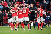 Charlton players celebrating after win during the Sky Bet Championship match between Charlton Athletic and Birmingham City at The Valley, London, England on 2 April 2016. Photo by Matthew Redman.