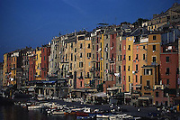 ca. 1990-2001, Portovenere, Italy --- Apartments Along the Water --- Image by © Owen Franken/CORBIS