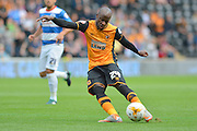 Sone Aluko  during the Sky Bet Championship match between Hull City and Queens Park Rangers at the KC Stadium, Kingston upon Hull, England on 19 September 2015. Photo by Ian Lyall.