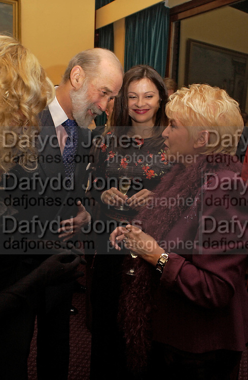 Prince Michael of Kent, Mrs. John Simpson and Gloria Hunniford, Reception to support the Hyde Park Appeal for Liberty Drives ( a charity which enables people to travel around Hyde Park in electric buggies) in the presence of Prince Michael of Kent. Officers Mess. Household Cavalry Mounted Regiment. Hyde Park Barracks. 30 November 2004. ONE TIME USE ONLY - DO NOT ARCHIVE  © Copyright Photograph by Dafydd Jones 66 Stockwell Park Rd. London SW9 0DA Tel 020 7733 0108 www.dafjones.com