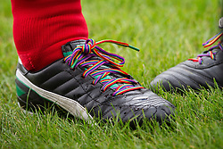 © Licensed to London News Pictures . 22/09/2013 . Lancing , UK . Shadow Chancellor Ed Balls ' rainbow laces worn in support of an anti homophobia in football campaign . Labour Party vs journalists football match . Day 1 of the Labour Party 's annual conference in Brighton . Photo credit : Joel Goodman/LNP