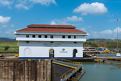 Panama Canal, Panama--April 19, 2018--The Miraflores locks of the Panama Canal. Editorial use only.