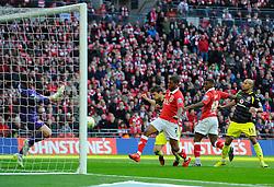 Bristol City's Mark Little scores at the second attempt  - Photo mandatory by-line: Joe Meredith/JMP - Mobile: 07966 386802 - 22/03/2015 - SPORT - Football - London - Wembley Stadium - Bristol City v Walsall - Johnstone Paint Trophy Final
