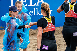 Madelein Meppelink and ball crew in action. The Final Day of the DELA NK Beach volleyball for men and women will be played in The Hague Beach Stadium on the beach of Scheveningen on 23 July 2020 in Zaandam.