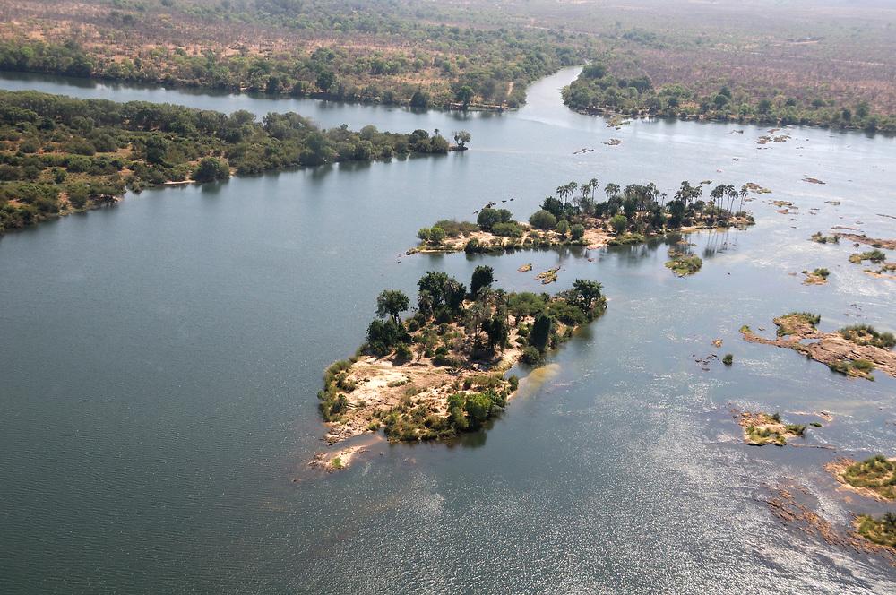 Aerial view Zambesi River, Livingstone, Southern Province, Zambia