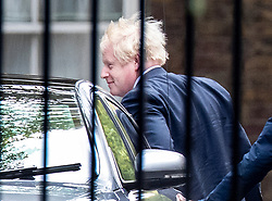 © Licensed to London News Pictures. 25/09/2019. London, UK.  Prime Minister Boris Johnson arrives in Downing Street after returning from New York. The Supreme Court in London yesterday ruled that Parliament had been suspended illegally. British Prime Minster Boris Johnson prorogued parliament just weeks before the UK is due to leave the EU on October 31st. Photo credit: Peter Macdiarmid/LNP