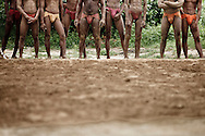 Kushti wrestlers waiting to practice the ancient sport, Varanasi, India