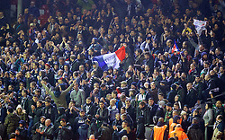 LIVERPOOL, ENGLAND - Thursday, November 26, 2015: FC Girondins de Bordeaux supporters with a 'Thank-You' banner after the UEFA Europa League Group Stage Group B match against Liverpool at Anfield. (Pic by David Rawcliffe/Propaganda)