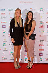LIVERPOOL, ENGLAND - Tuesday, May 9, 2017: Liverpool's Welsh international players Sophie Ingle and Natasha Harding arrive on the red carpet for the Liverpool FC Players' Awards 2017 at Anfield. (Pic by David Rawcliffe/Propaganda)
