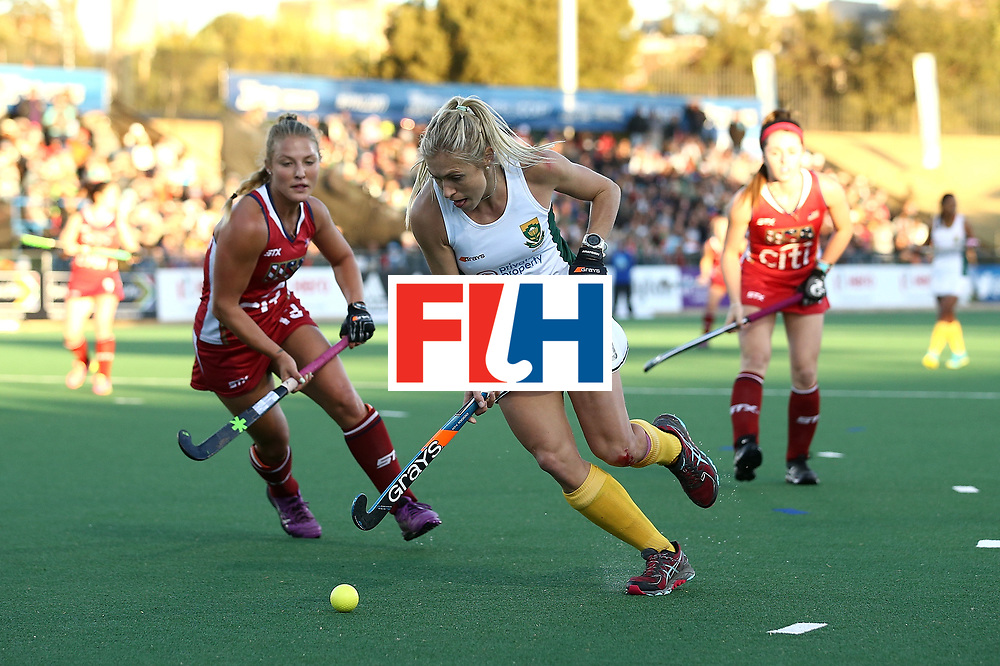 JOHANNESBURG, SOUTH AFRICA - JULY 16:  Shelley Jones of South Africa battles with Ashley Hoffman of United States of America during day 5 of the FIH Hockey World League Women's Semi Finals Pool B match between South Africa and United States of America at Wits University on July 16, 2017 in Johannesburg, South Africa.  (Photo by Jan Kruger/Getty Images for FIH)