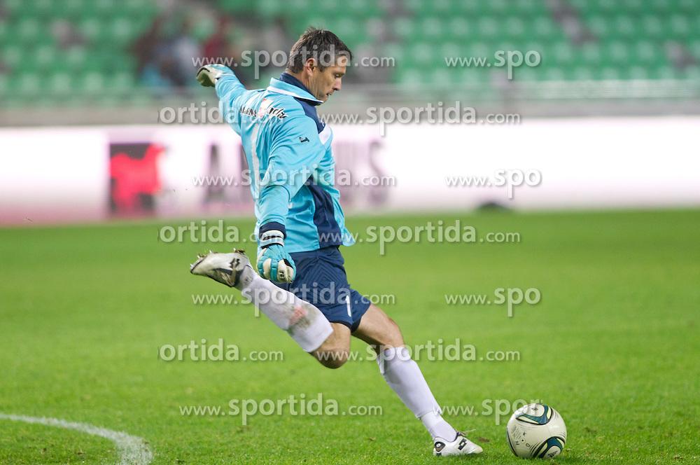 Amel Mujcinovic, goalkeeper of Celje during football match between NK Olimpija Ljubljana and CM Celje of 19th Round of PrvaLiga 2011/2012, on November 23, 2011 in SRC Stozice, Ljubljana, Slovenia.  (Photo By Vid Ponikvar / Sportida.com)
