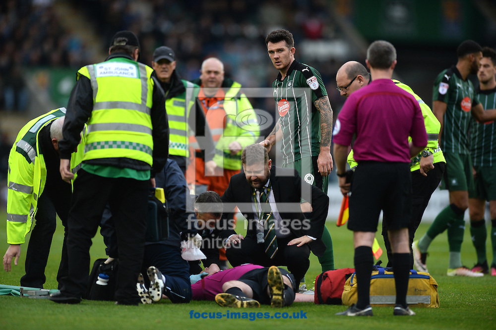 Match Referee Kevin Johnson takes a blow to the head and is stretched off in a head brace during the Sky Bet League 2 match between Plymouth Argyle and Colchester United at Home Park, Plymouth<br /> Picture by Richard Blaxall/Focus Images Ltd +44 7853 364624<br /> 29/10/2016