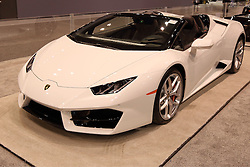 09 February 2017:  Lamborghini Huracan Spyder <br /> <br /> First staged in 1901, the Chicago Auto Show is the largest auto show in North America and has been held more times than any other auto exposition on the continent.  It has been  presented by the Chicago Automobile Trade Association (CATA) since 1935.  It is held at McCormick Place, Chicago Illinois<br /> #CAS17