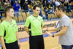 Referees Bostjan Zitnik, Mitja Smolko and Branko Tamse, head coach of RK Celje PLduring handball match between RK Celje Pivovarna Lasko and RK Gorenje Velenje in Eighth Final Round of Slovenian Cup 2015/16, on December 10, 2015 in Arena Zlatorog, Celje, Slovenia. Photo by Vid Ponikvar / Sportida